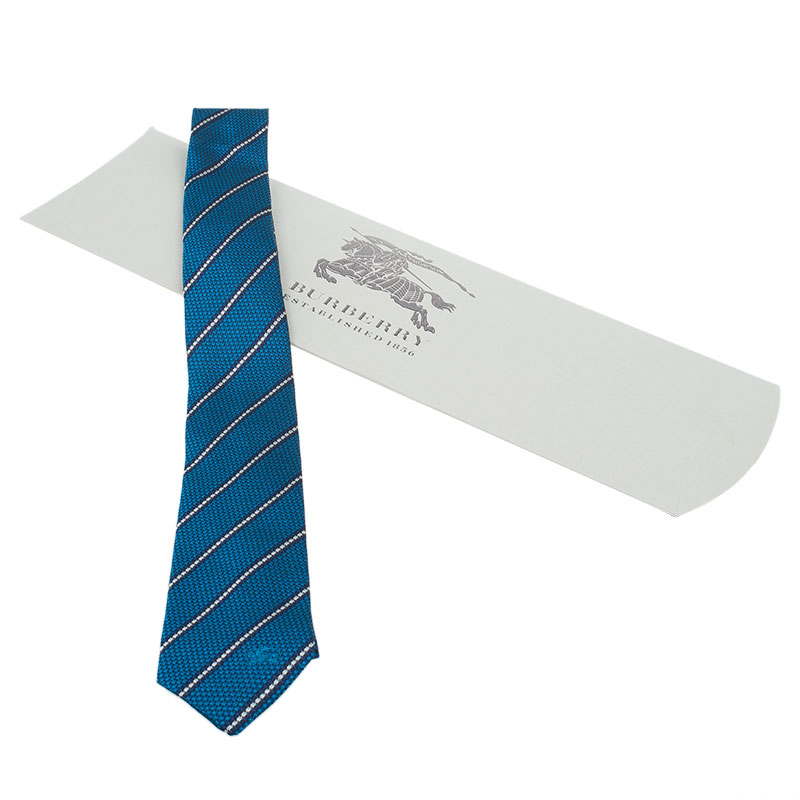 Burberry Blue Striped Silk Tie
