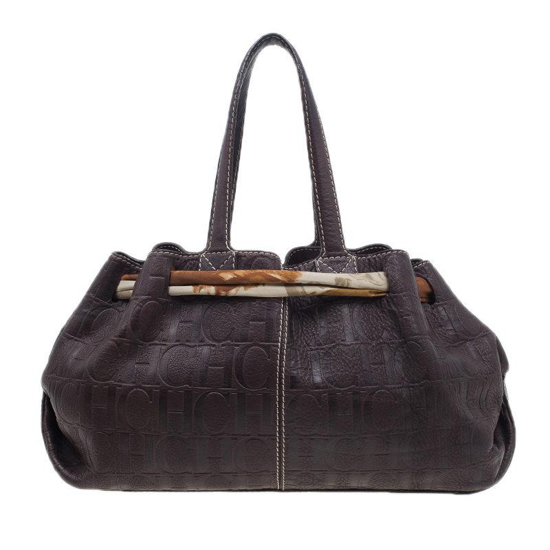 Carolina Herrera Brown Monogram Embossed Scarf Tote