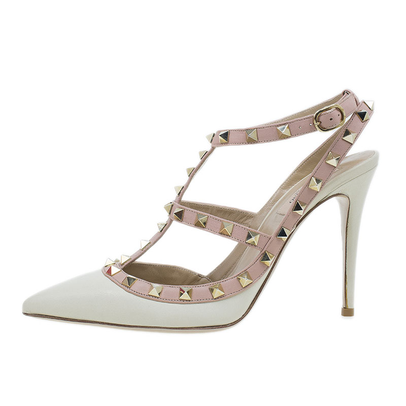 Valentino Ivory Leather Rockstud Sandals Size 39.5