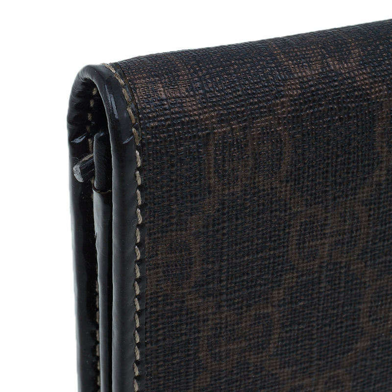 Gucci Brown Coated Canvas Monogram Continental Wallet