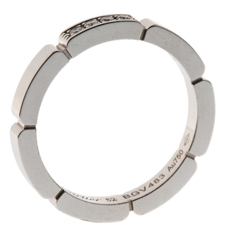 Купить со скидкой Cartier Maillon Panthère Diamond 18k White Gold band Ring Size 52