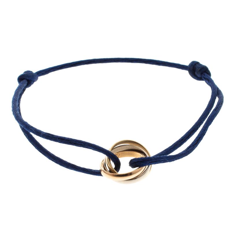 Cartier Trinity Three Tone 18k Gold Blue Adjule Cord Bracelet Nextprev Prevnext