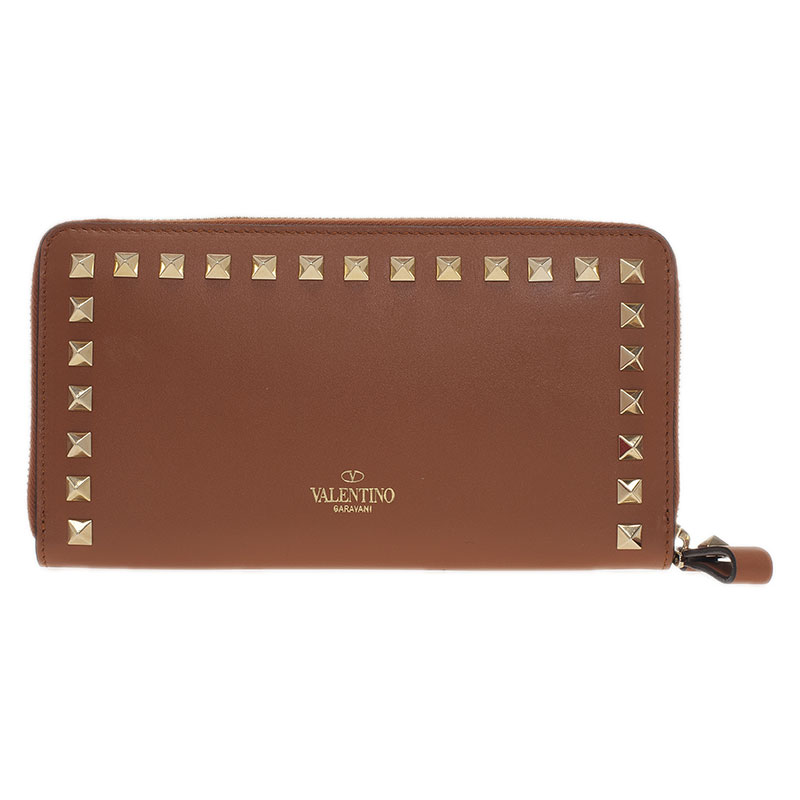 Valentino Brown Leather Rockstud Zip Around Wallet