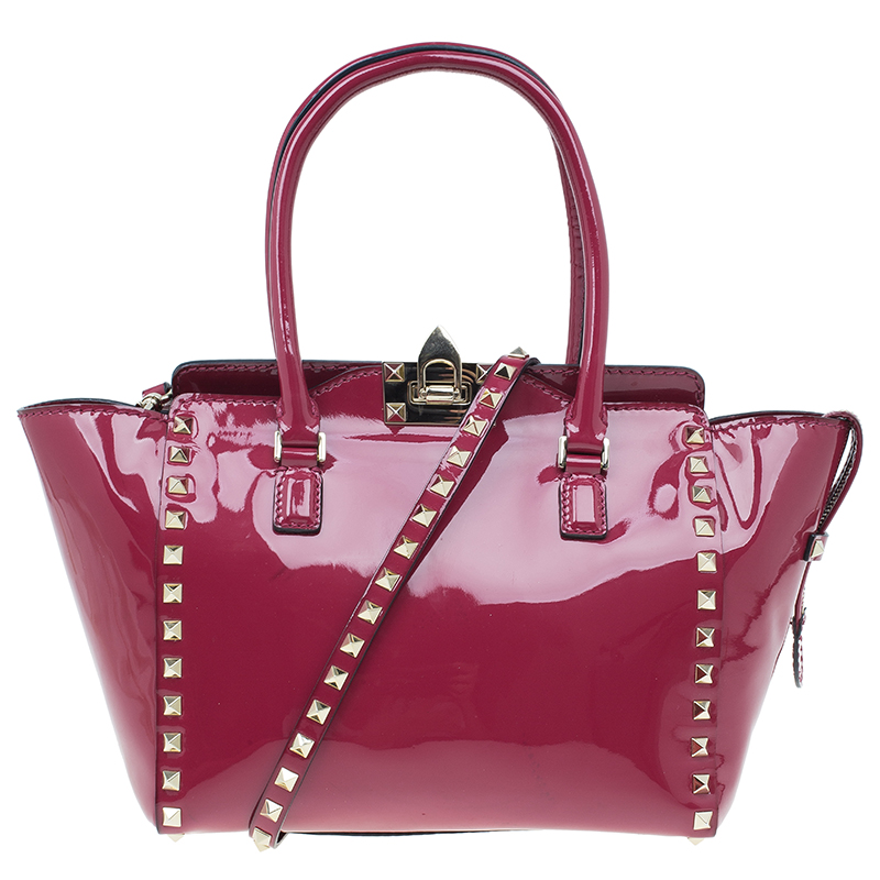 Valentino Pink Patent Leather Small Rockstud Shopper Tote Bag