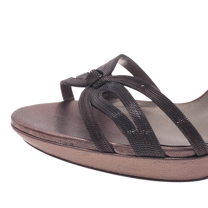 Salvatore Ferragamo Grey Leather Gangy Slingback Sandals Size 40