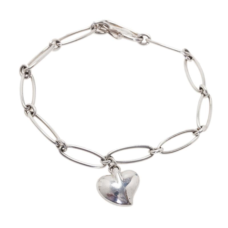 Tiffany & Co. Elsa Peretti Heart Silver Pendant Bracelet