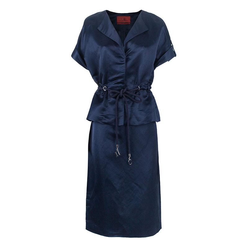 Carolina Herrera Navy Skirt Suit L