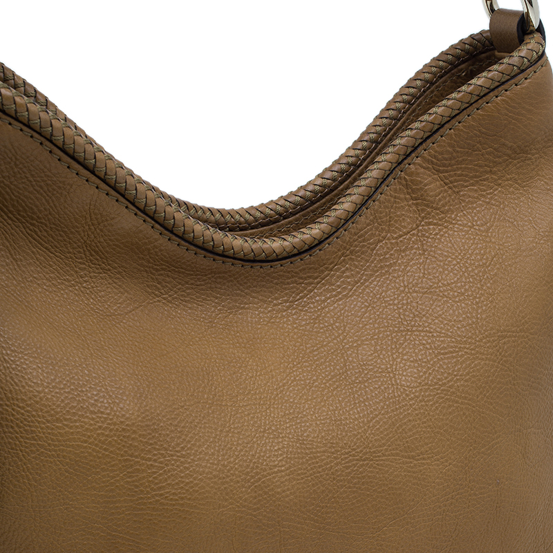 Gucci Brown Leather Medium Marrakech Tassels Metal G Hobo