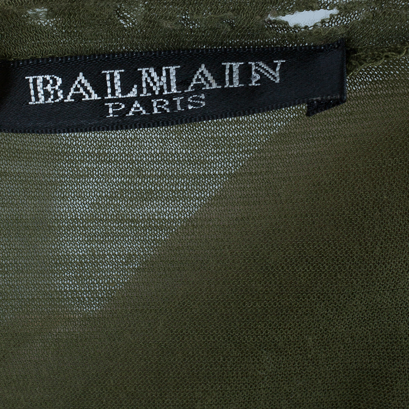 Balmain Embellished Distressed Khaki Top S