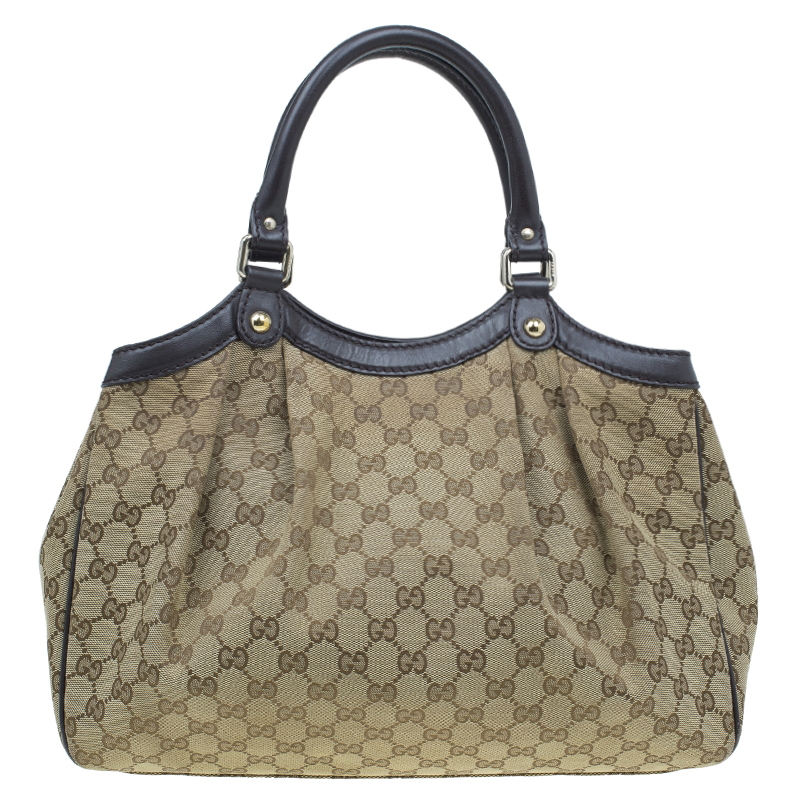 Gucci Beige Monogram Canvas Medium Original Sukey GG Tote