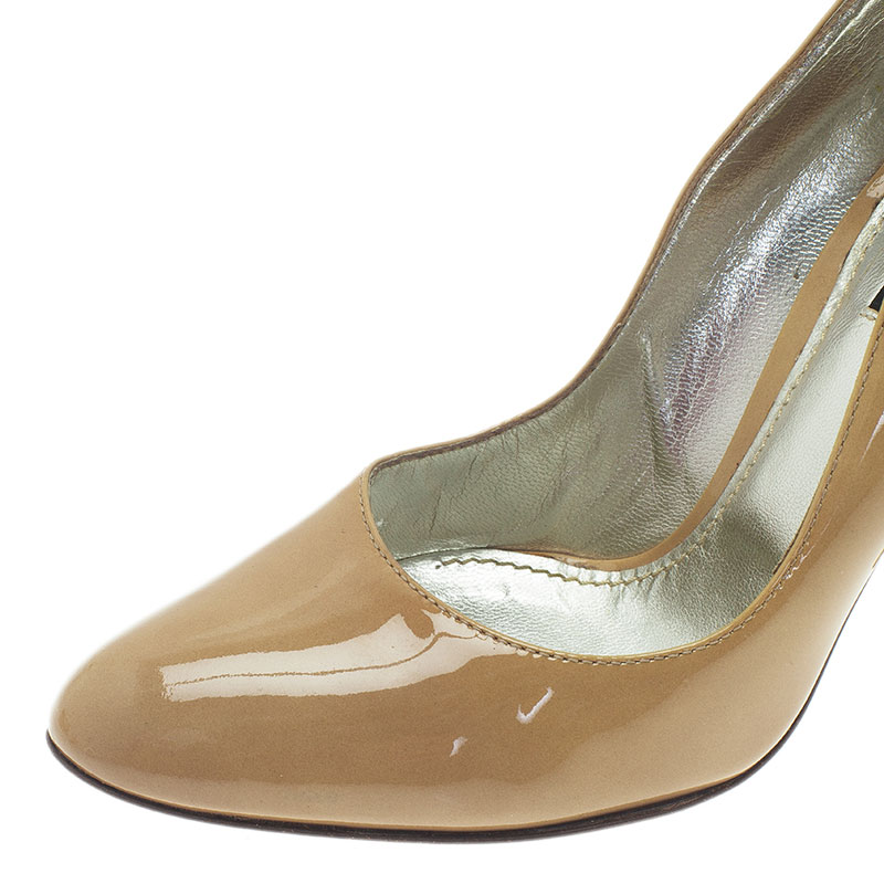 Dolce and Gabbana Beige Patent Cone Heel Pumps Size 38