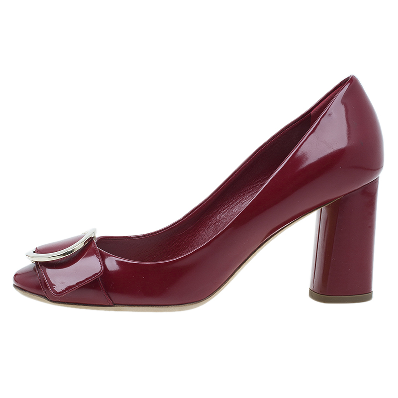 Dior Red Patent Buckle Pumps Size 37.5