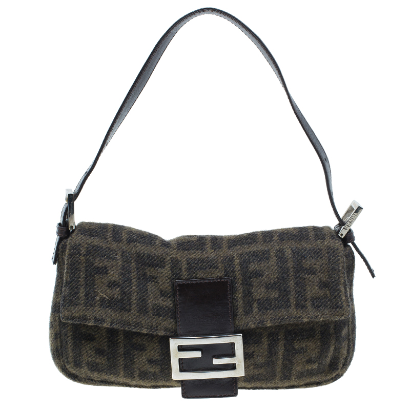 Fendi Wool Zucca Baguette Shoulder Bag