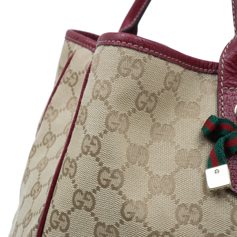 Gucci Red/Beige Monogram Canvas Large Princy Tote