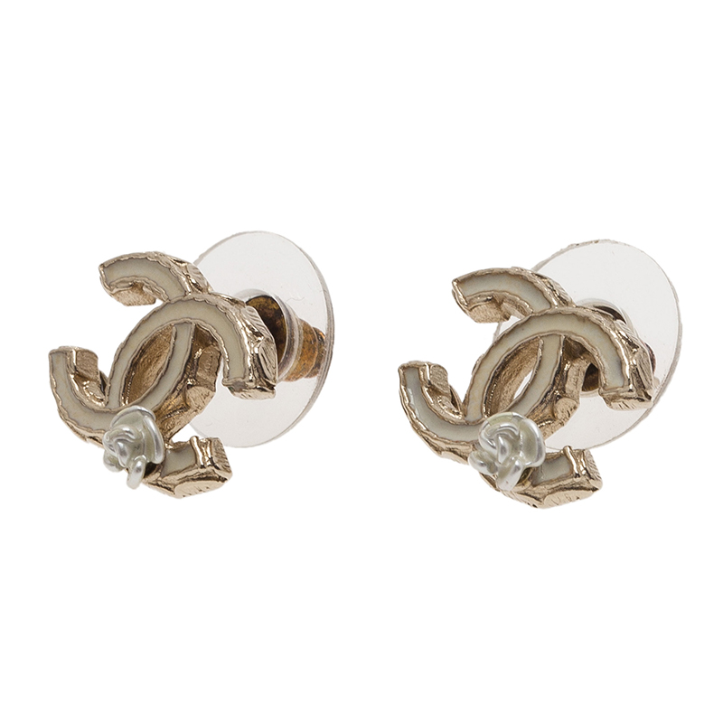 Chanel CC Enamel Camellia Earrings