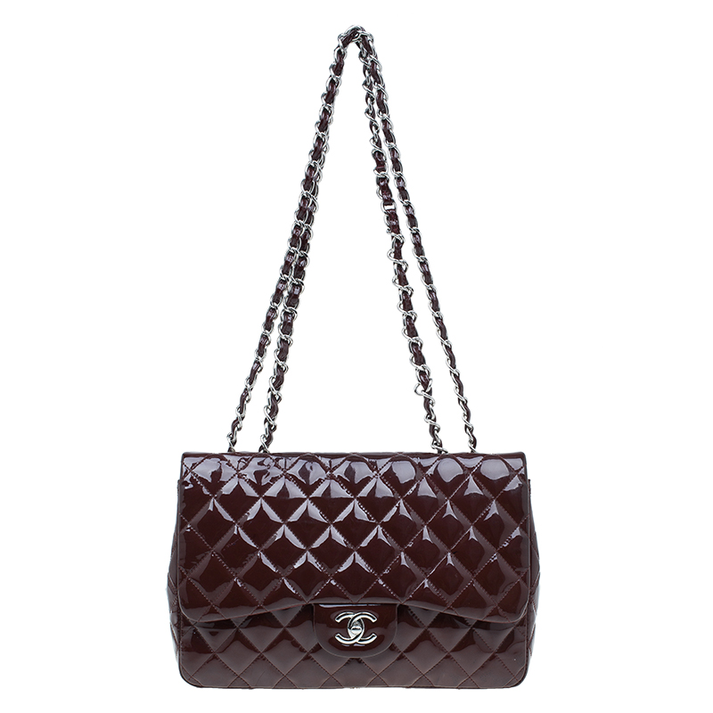 Chanel Burgundy Quilted Patent Leather Jumbo Classic Single Flap Bag