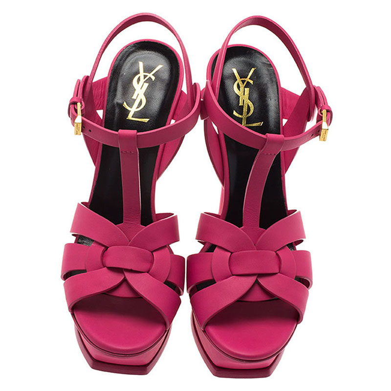Saint Laurent Paris Pink Leather Tribute Platform Sandals Size 39