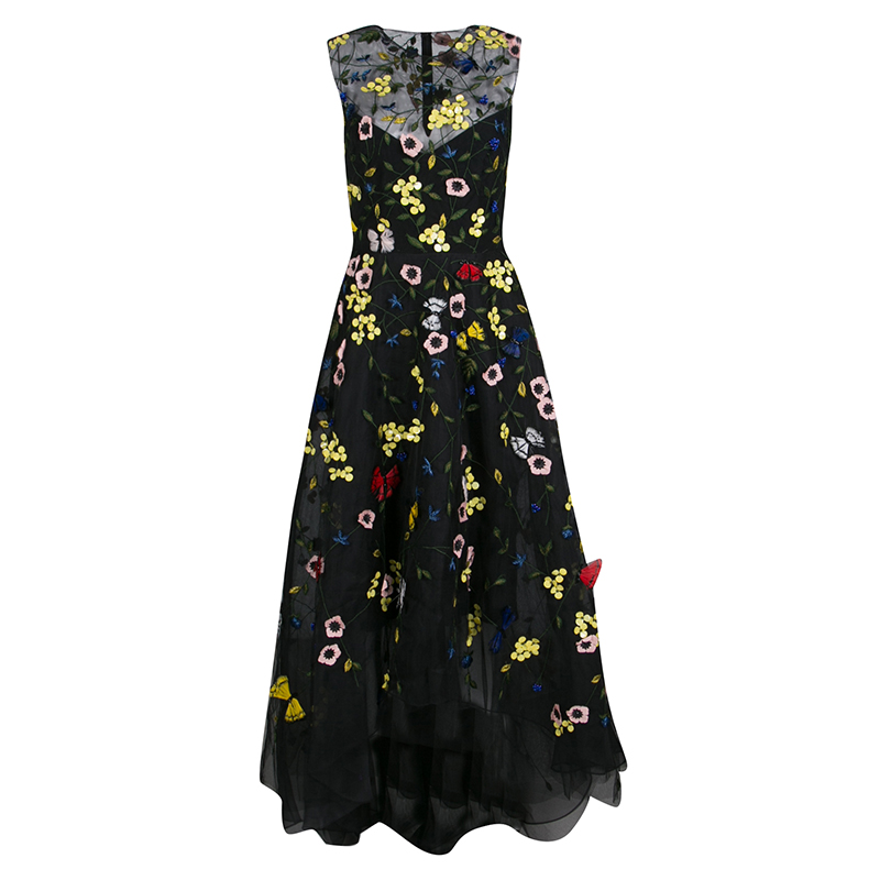 Monique Lhuillier Black Floral and Butterfly Applique High Low Tulle ...