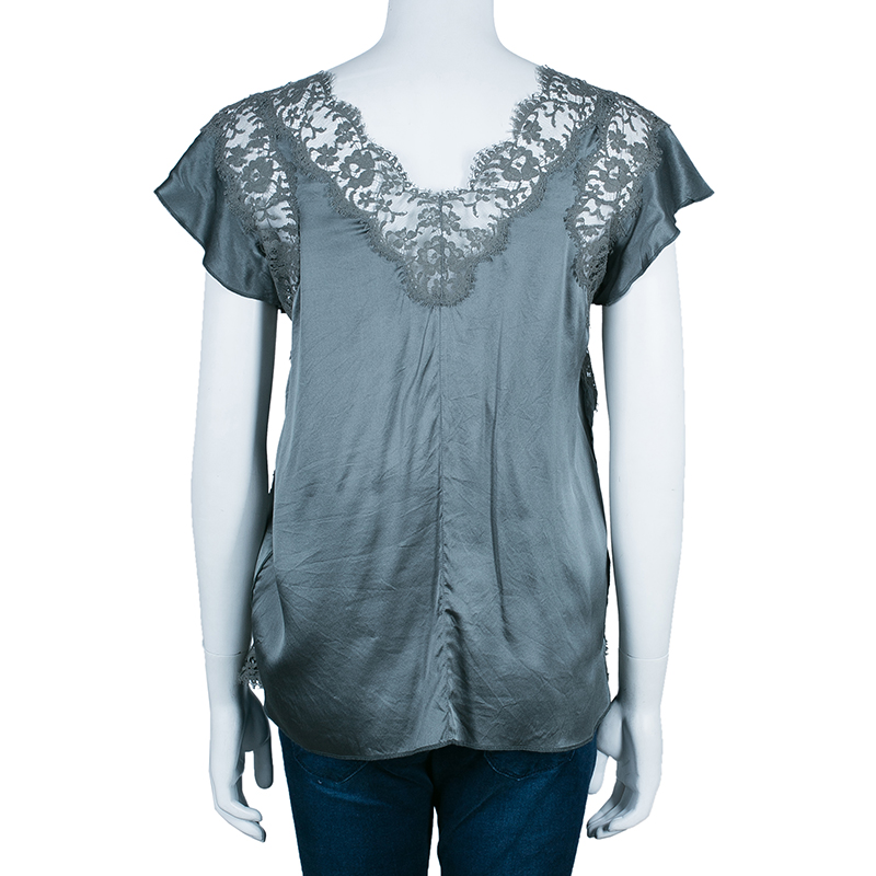 Dolce And Gabbana Green Silk Lace Top S