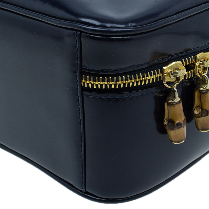 Gucci Navy Blue Leather 2 ways Vanity Cosmetic Case