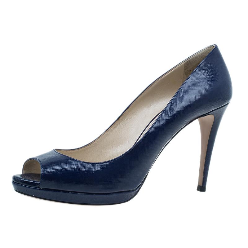Prada Navy Blue Patent Saffiano Peep Toe Pumps Size 40.5