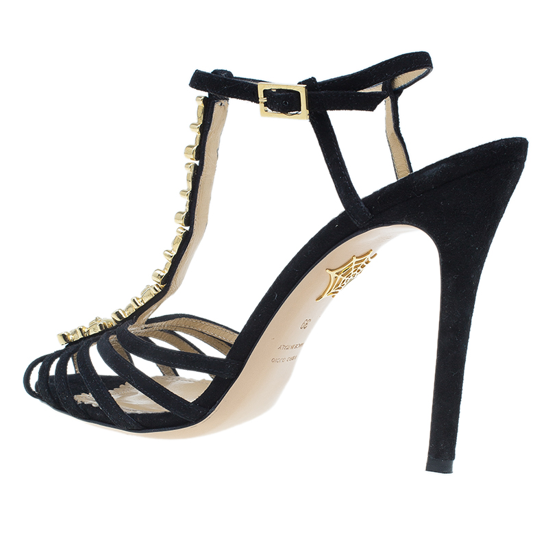 Charlotte Olympia Black Suede Gummi Bear Ankle Strap Sandals Size 39