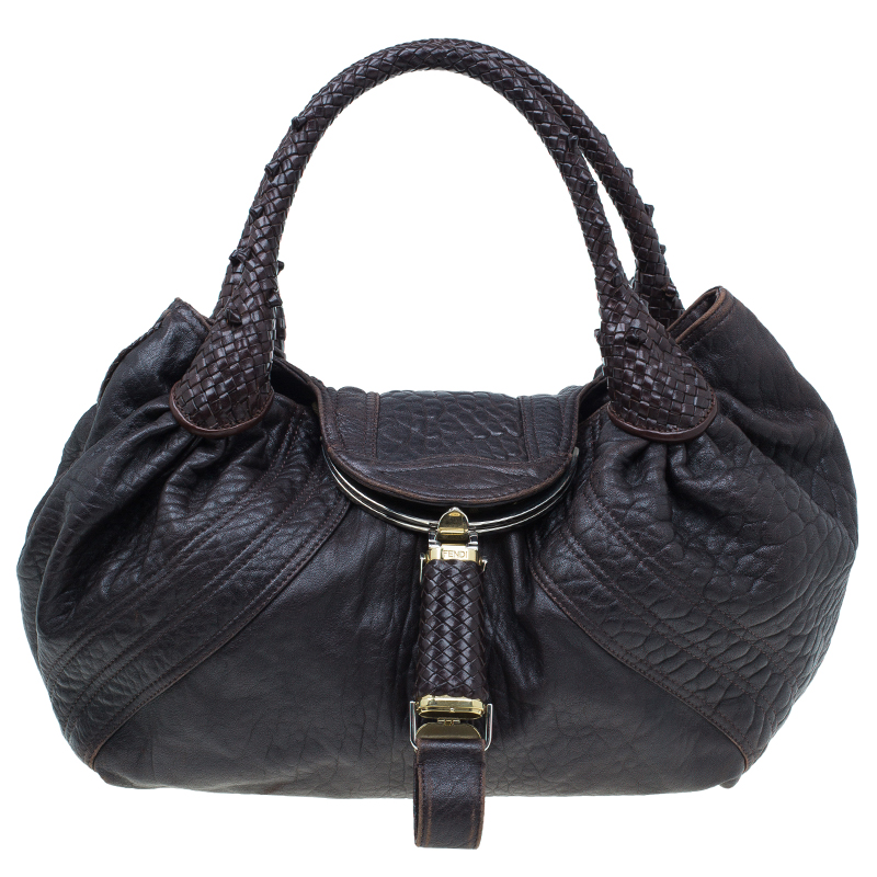 3a941caaf3a ... shop fendi dark brown leather large spy hobo bag buy sell lc fabf3 254d1