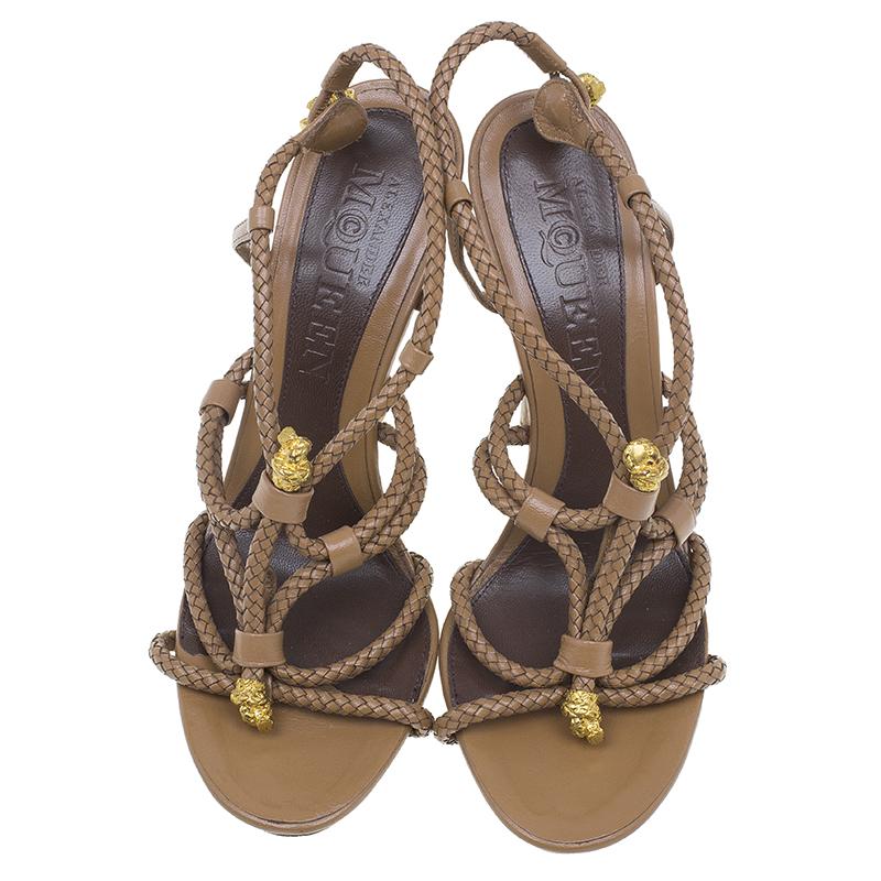 Alexander McQueen Brown Braided Leather Skull Detail Sandals Size 37