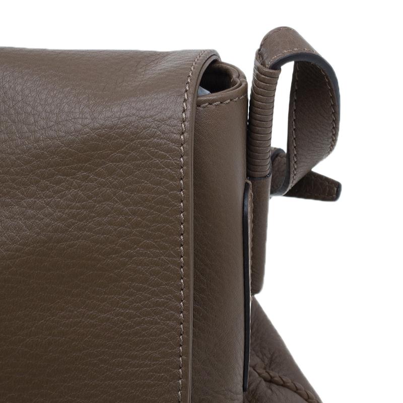 Gucci Brown Leather Hip Bamboo Flap Shoulder Bag