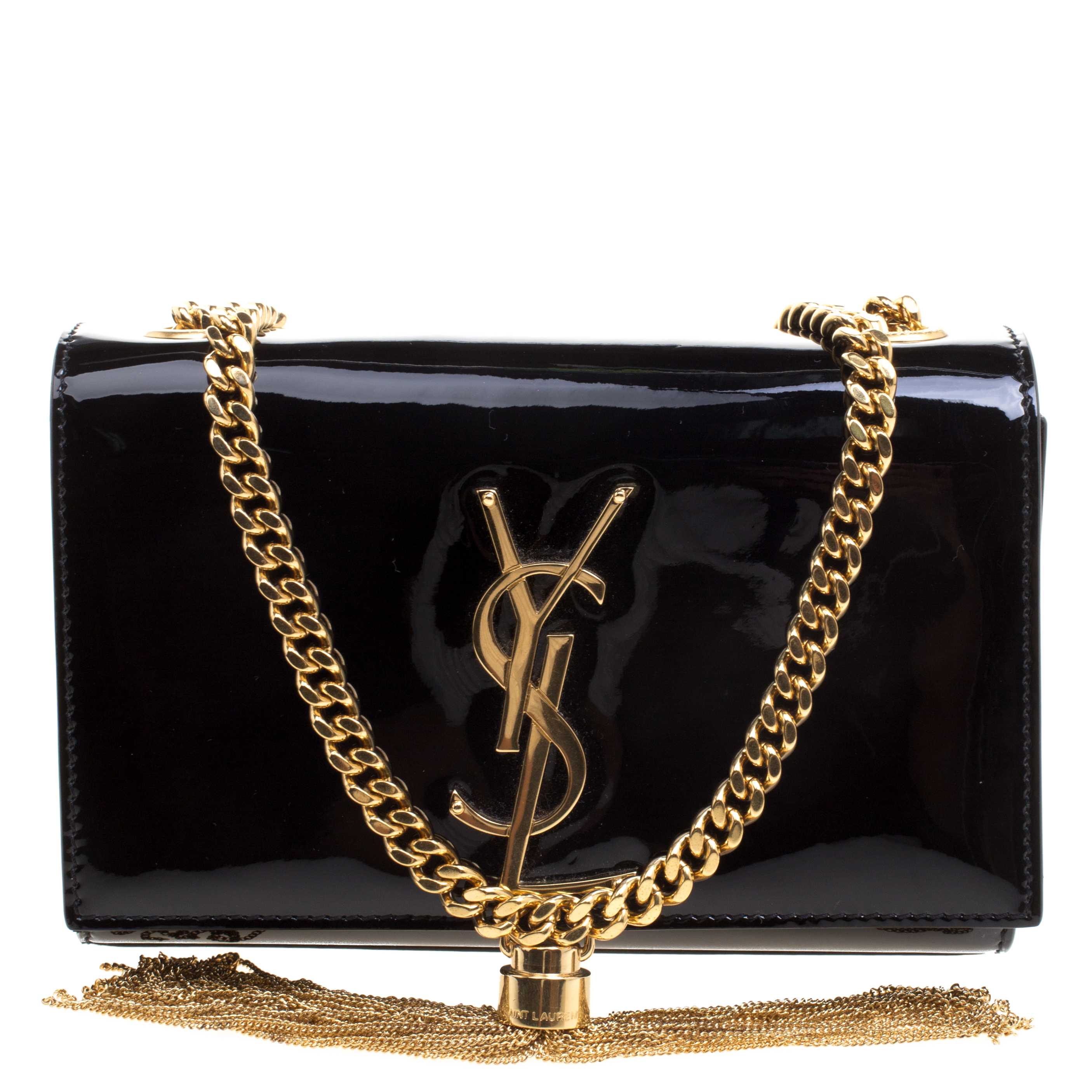 Saint Laurent Paris Black Patent Leather Small Kate Tassel Crossbody Bag.  nextprev ... c22739b883dd5