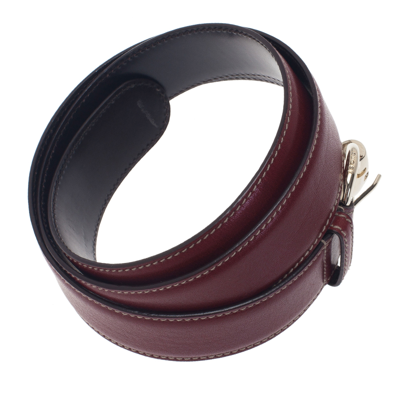 Gucci Burgundy Leather Horsebit Ring Buckle Belt 95CM