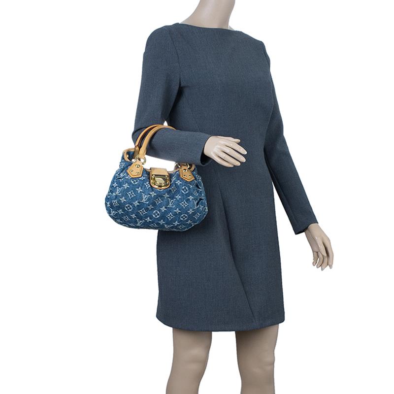 Louis Vuitton Blue Denim Monogram Pleaty Satchel PM
