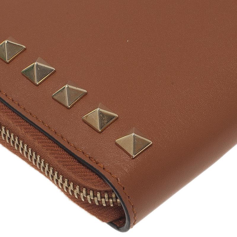 Valentino Brown Leather Rockstud Zip Around Wallet