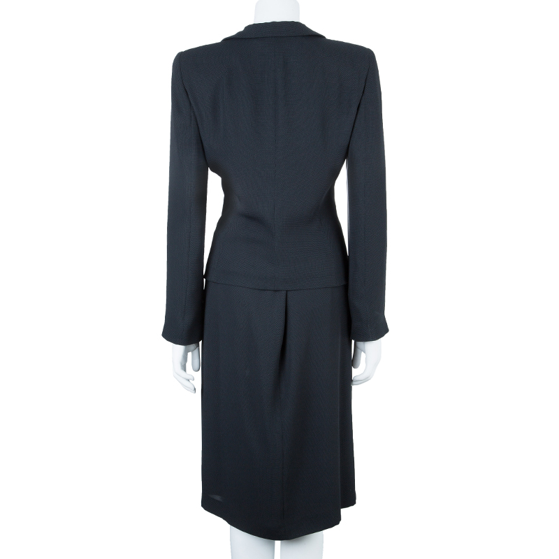 Emporio Armani Black Ruched Front Skirt Suit M