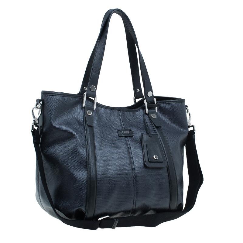 Tod's Black Coated Canvas Medium Sacca Tote Bag