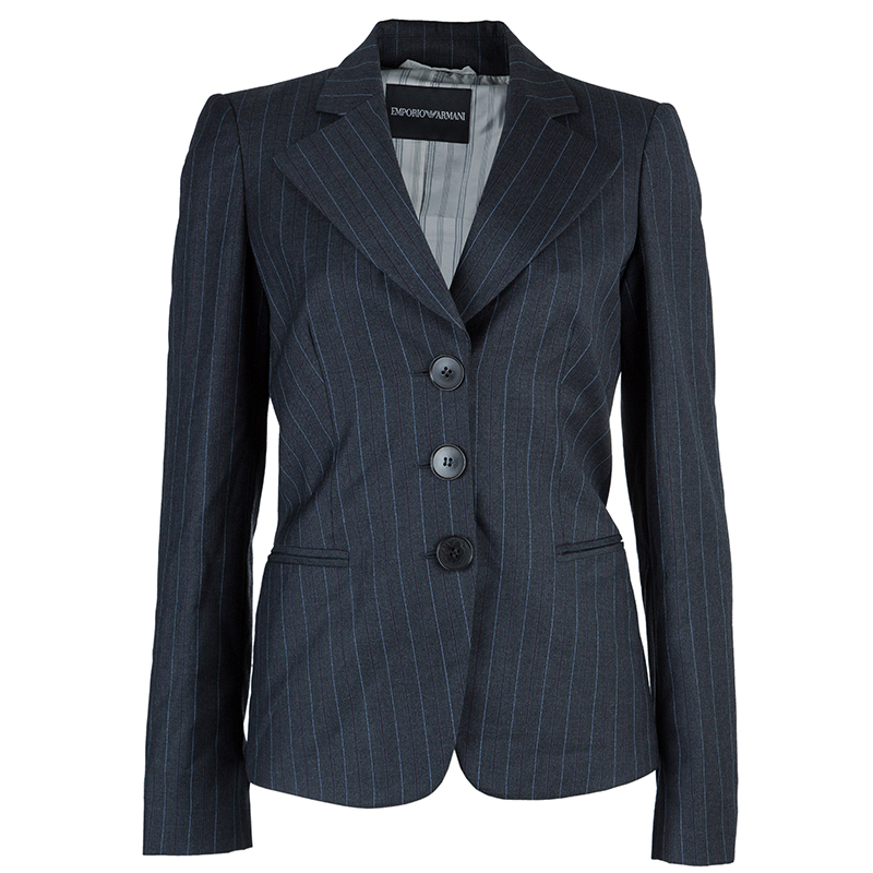Emporio Armani Grey Striped Pant Suit S
