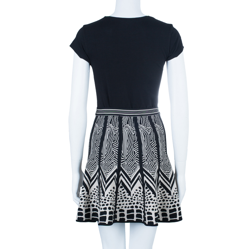 Herve Leger Black and White Bandage Skirt XS