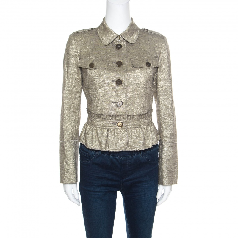 Купить со скидкой Burberry London Metallic Gold Ruffled Frayed Trim Cropped Jacket S