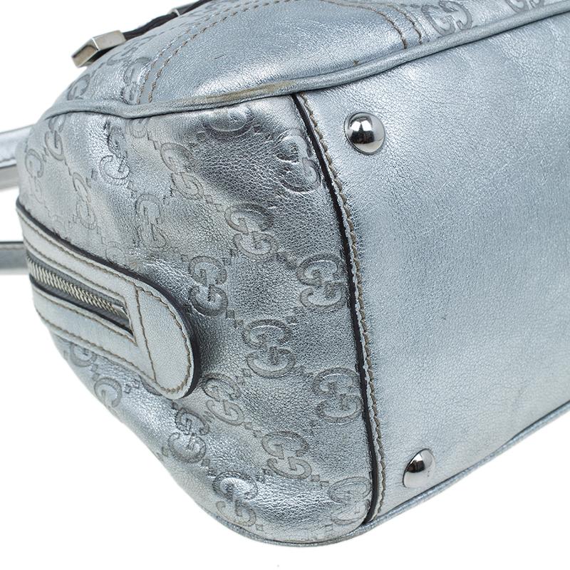 Gucci Silver Monogram Leather Signature GG Princy Boston Bag