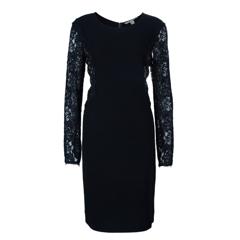Diane Von Furstenberg Black Lace India Dress L
