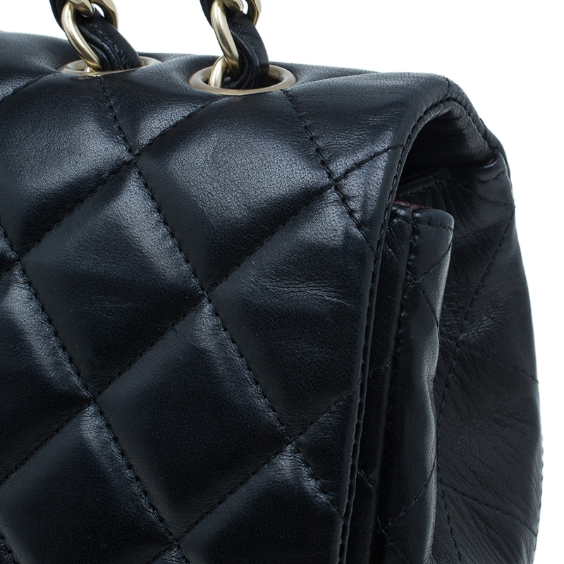 Chanel Black Quilted Lambskin Leather Jumbo Single Flap Bag