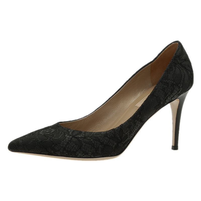Valentino Black Lace Pointed Toe Pumps Size 39
