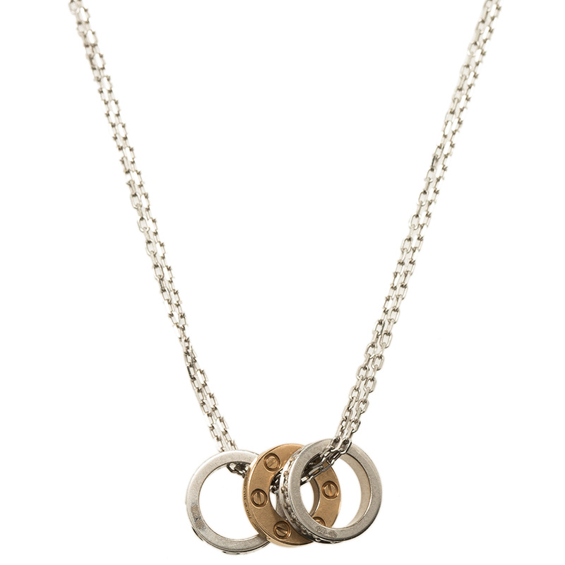 Cartier Love 3 Hoops White and Rose Gold Diamond Necklace