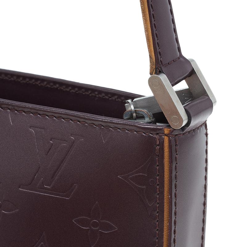 Louis Vuitton Metallic Burgundy Leather Vernis Pochette bag