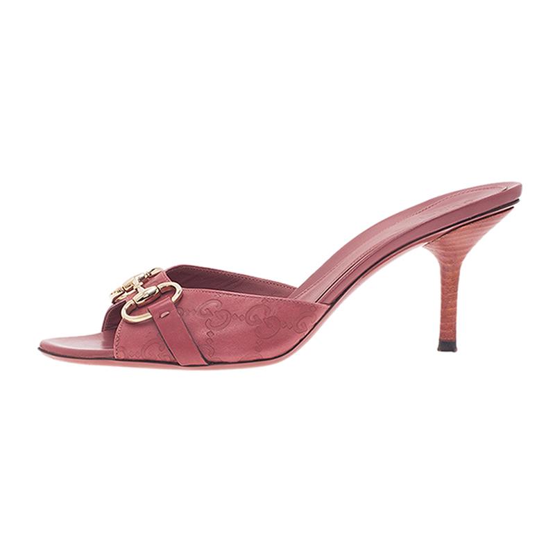 Gucci Pink Guccissima Leather Horsebit Slides Size 39