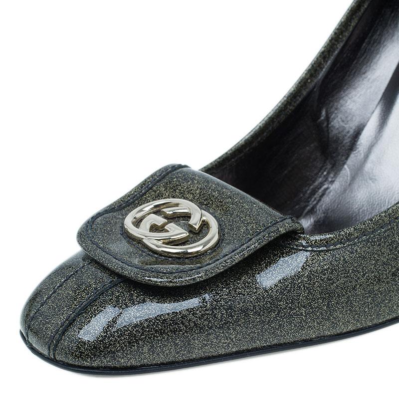 Gucci Green Metallic Interlocking GG Pumps Size 40