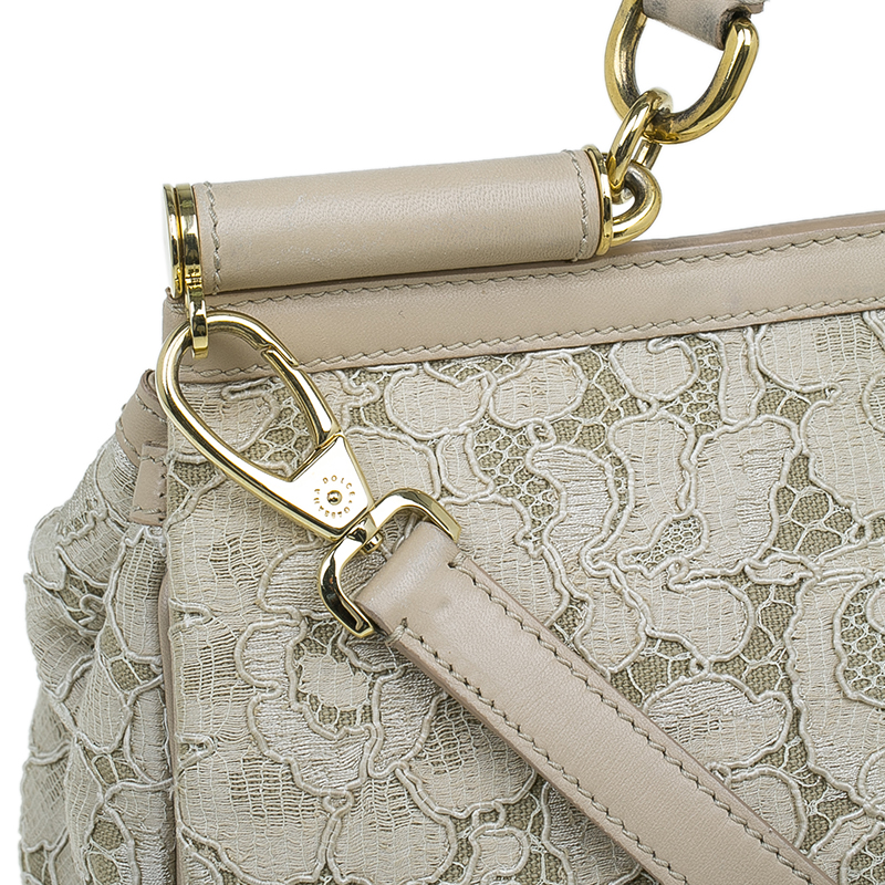 Dolce and Gabbana Beige Lace Leather Medium Miss Sicily Bag