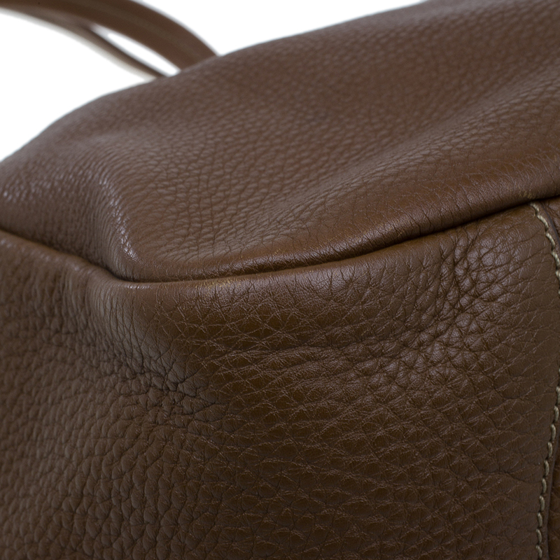 Prada Brown Leather Vitello Daino Tote Bag