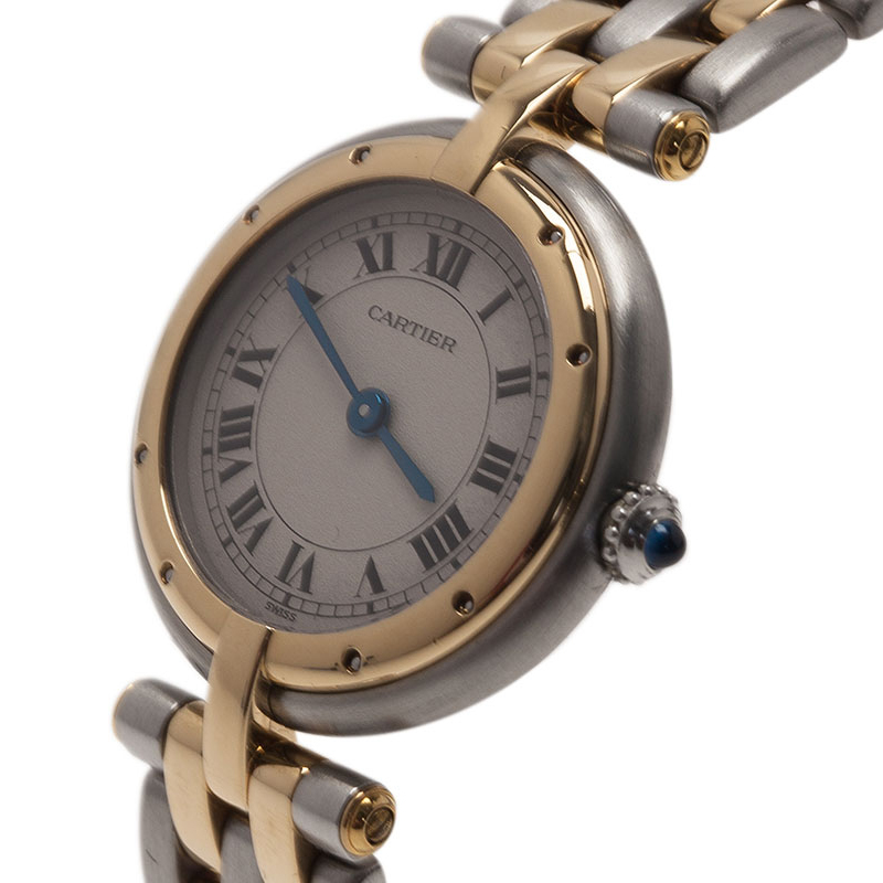 Cartier White Stainless Steel and Yellow Gold Mini Panthere Women's Wristwatch 24MM