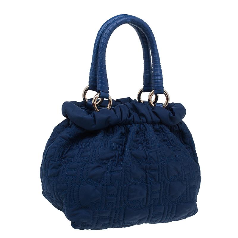 Carolina Herrera Blue Monogram Nylon Pleated Hobo Bag
